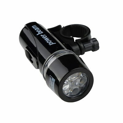 Bike Bicycle 5 LED Power Beam Front Head Light Headlight Torch Lamp Black MTB