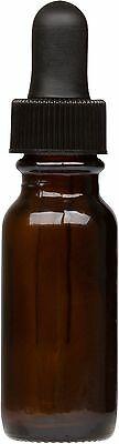 6 Pack Amber Glass Boston Round Bottle w/ Black Glass Dropper 0.5 oz