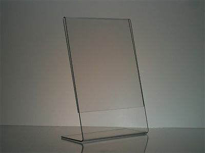 """Clear Slanted Acrylic Picture Frame Display Stand 5"""" x 7"""" table tents lot of 20"""