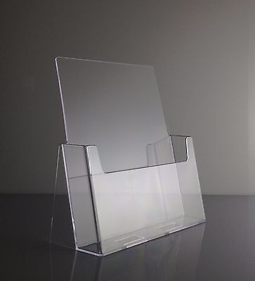 Full Page Brochure Holders 8.5 x 11 Clear Acrylic Display Stands Lot of 10