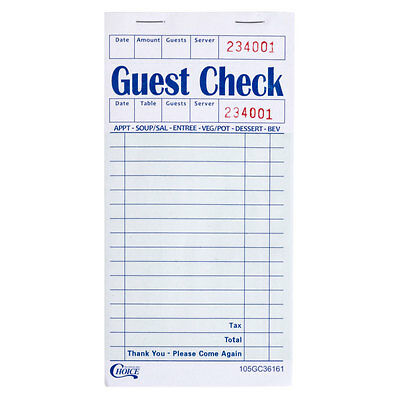(50-Pack) 1 Part Green & White Restaurant Guest Check w/ Guest Receipt