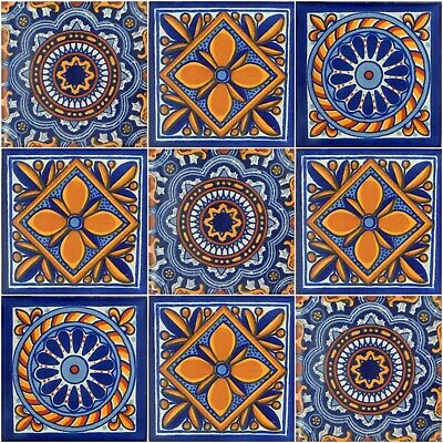 9 Mexican Talavera Tiles Ceramic Tiles Hand Made # M12