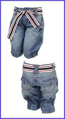 Bnwot Girls Denim Cropped Jeans With Elasticated Cuff And Belt Age 3 - 4 Years