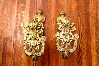 Dual Brass Acathus Leaf and Garland Coat Hooks vintage reclaimed original Pair