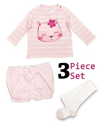 Bnwot Baby Girls Ex F&F Pink Shorts Top & Tights Set Ages 1 & 3 Months Only Left