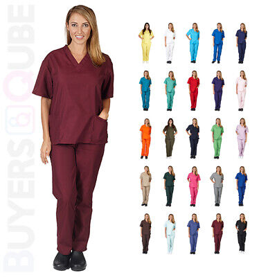 Unisex Natural Uniforms Medical Hospital Nursing Scrub Set Top & Pants S-3XL