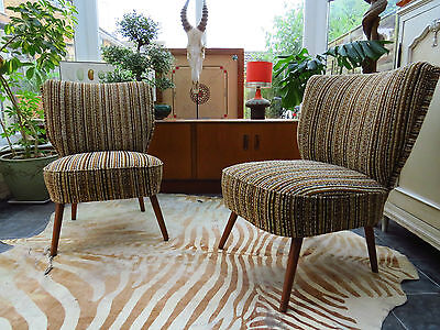 Pair Of Striped Vintage East German Bartholomew Cocktail Chairs C1975  (A16/23) • £320.00
