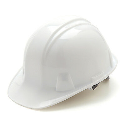White Hard Hat Pyramex HP14110 4-Point With Ratchet Suspension Safety Cap Style