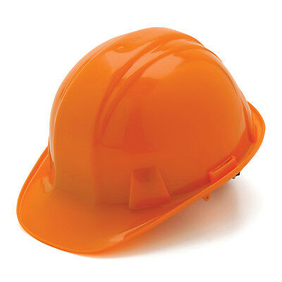 Orange Hard Hat Pyramex HP14140 4-Point With Ratchet Suspension Safety Cap Style