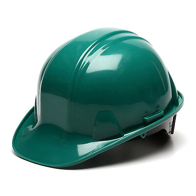 Green Hard Hat Pyramex HP14135 4-Point With Ratchet Suspension Safety Cap Style