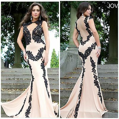 NWT JOVANI 89902 Floor length nude jersey gown features black lace embellishment