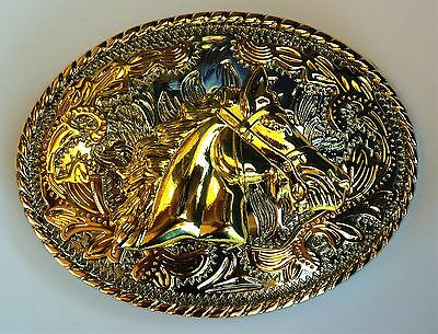 New 3-D Oval Horse Head Silver And Gold Western Cowboy Rodeo  Belt Buckle