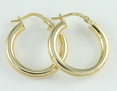 10k Yellow Gold 3mm Thick Hoop Earrings (new, 1.80g)#2542