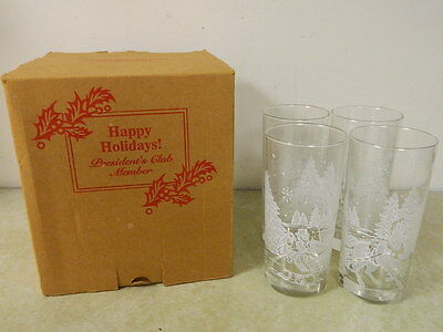 4 Avon Glasses Christmas Trees Horse Drawn Sleigh Snowflakes Beautiful Set