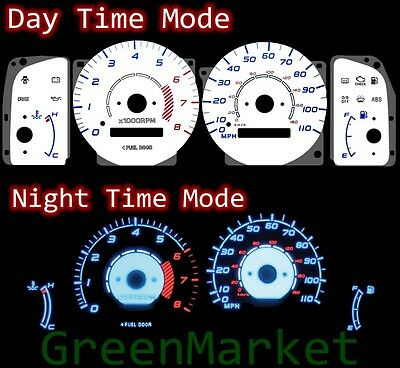 98-02 Corolla w/ RPM WHITE FACE BLUE INDIGLO GLOW GAUGES