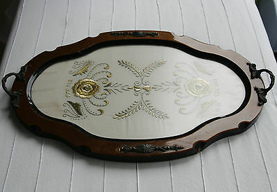 Lacquered Mahogany Serving Tray With Embroidered Insert Under Glare Proof Glass
