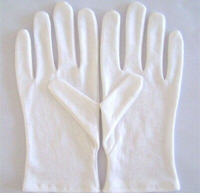 2 pairs L  WHITE  gloves 100% soft cotton - inspection gloves NEW