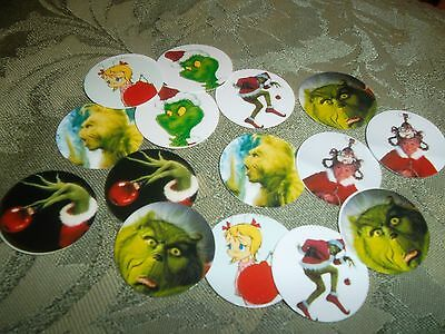 Pre Cut One Inch THE GRINCH WHO STOLE CHRISTMAS CARTOON FREE SHIP