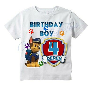 CHASE Paw Patrol CUSTOM t-shirt PERSONALIZE Birthday gift, CHOOSE AGE & NAME