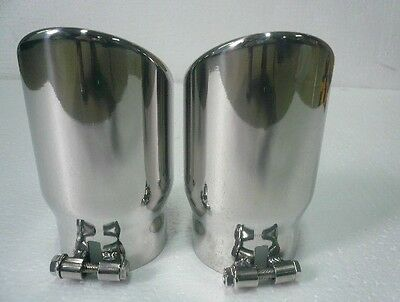 ROUND SLANT Stainless Steel Exhaust Tips for AUDI-Q7 ONE PAIR