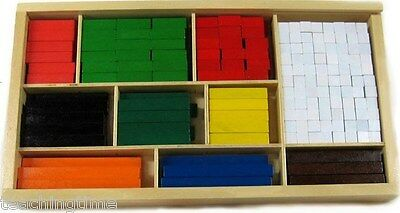Wooden cuisenaire rods instruction leaflet visual aid for addition subraction