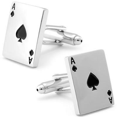 Ace of Spades Silver Cufflinks Formal Wear Business Wedding for Suit Shirt Gift