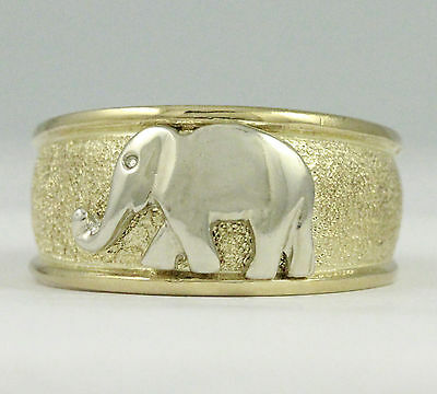 10k Yellow/White Gold Wide Elephant Ring, 5.14g (NEW) #1981