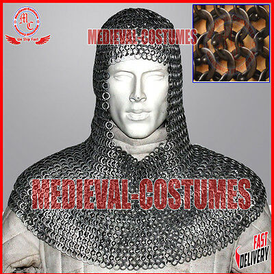 Round Riveted With Flat Washer Chainmail Coif Medieval Chainmail Hood Costume