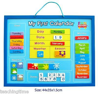 Wooden magnetic my first calendar day date and weather chart