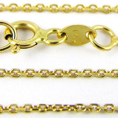 """16-24"""" 0.85mm 14k Yellow Cable Link Chain,(NEW solid Italian necklace) #30"""
