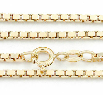 """16-24"""" 2.20mm 14k Yellow Gold Box Chain, (NEW solid Italian necklace) 2220"""