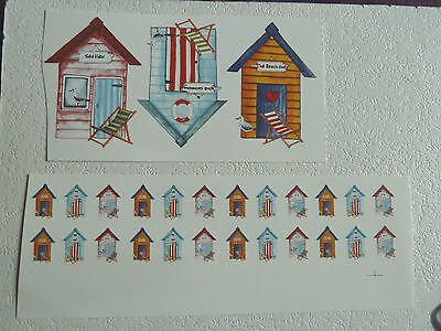 Ceramic Decal Seaside Beach Hut Seagull Deck Chair 80mm 50mm 35mm or 20mm