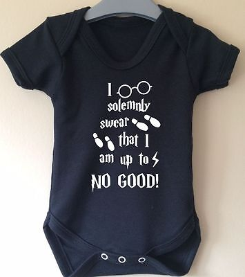 I Solemnly Swear That I Am Up To No Good Harry Potter Inspired Baby Body Vest