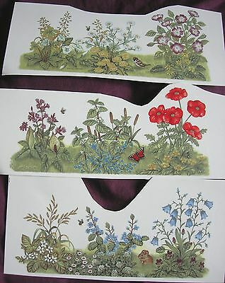 Ceramic Decal Mug Wrap set of 3 Hedgerow Plants Flowers Sparrow Mouse Butterfly