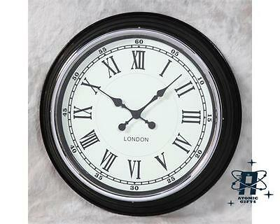Retro Vintage Style London Large Metal Wall Clock Black With White Face Et64