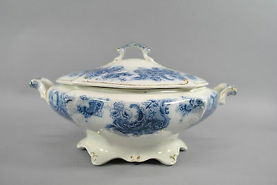 Covered Tureen Transferware in Blue Floral on White Dorothy Pattern