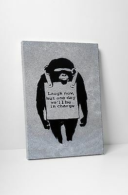 Banksy Laugh Now Gallery Wrapped Canvas Print. BONUS BANKSY WALL DECAL!