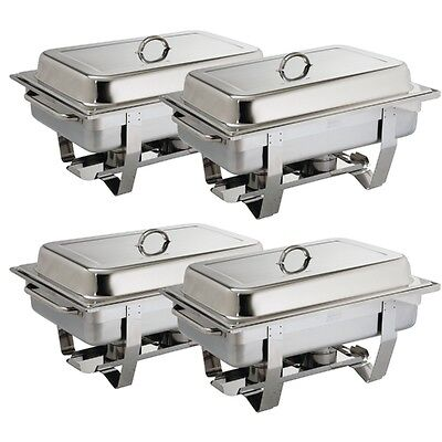 Chafing Set Four Pack. Qty 4 sets x Full Size 1/1 Stainless Steel CHAFING DISHES