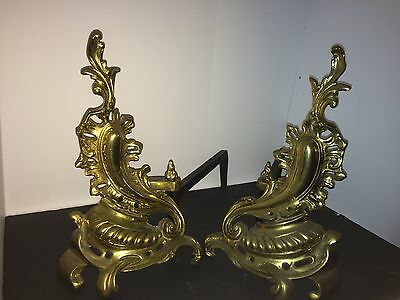 Pair Of Gilt Ornate Andirons Fireplace French Rococo