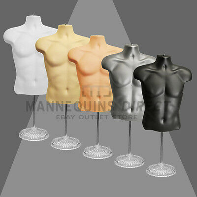 High Quality Half Male Mannequin Torso Body Form Display Bust With Base / Stand
