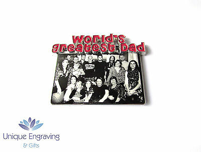 Personalised Photo Engraved Stainless Steel fridge Magnet - Fathers Day Gift!