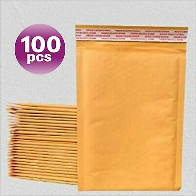 PolycyberUSA  100 #1 Kraft Bubble Envelopes Mailers 7.25 X 12 (Inner 7.25x11)