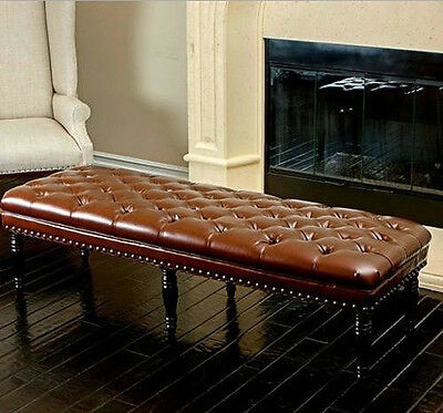 Button Upholstered Bench Bedroom French Style Room Chaise Hall Window Seat Stool