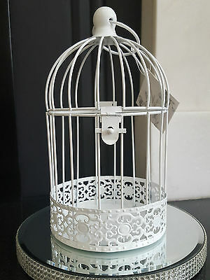 Package of 8 White Shabby Chic Birdcages Wedding Centre Piece Bird Cage