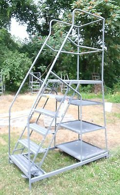 6 Step Rolling Ladder w/Work Platform & Package Trays, Stockpicker FREE SHIPPING