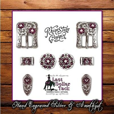 Hand Engraved German Silver & Amethyst Crystal Buckle Set For Western Headstall