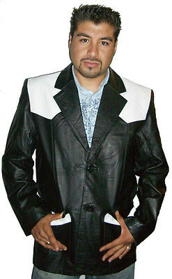 Men's Black/White Genuine Leather Western Blazer GREAT PRICE Style #369PN