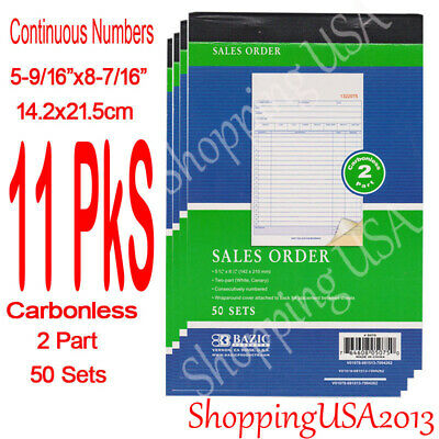 12 X Carbonless Sales Order Book Invoice Receipt Form 50 Sets 2 Parts Green**