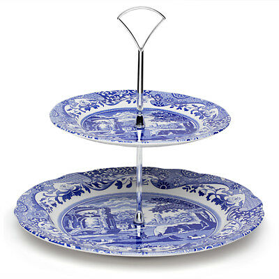 NEW Spode Blue Italian Double Tiered Cake Stand