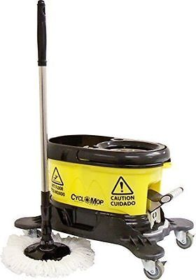 Commercial Spin Floor Mop with Dolly Spinning Bucket with 2 Microfiber